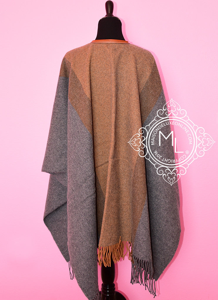 5f1dd7229 ... Hermes Cashmere Wool Gold Grey Rocabar Bivouac Poncho Cape ...