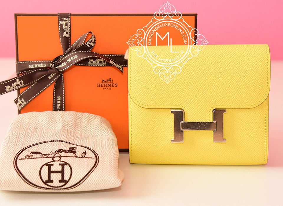 Hermes Soufre Yellow Epsom Constance Wallet