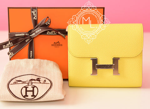 Hermes Soufre Yellow Epsom Constance Wallet - New