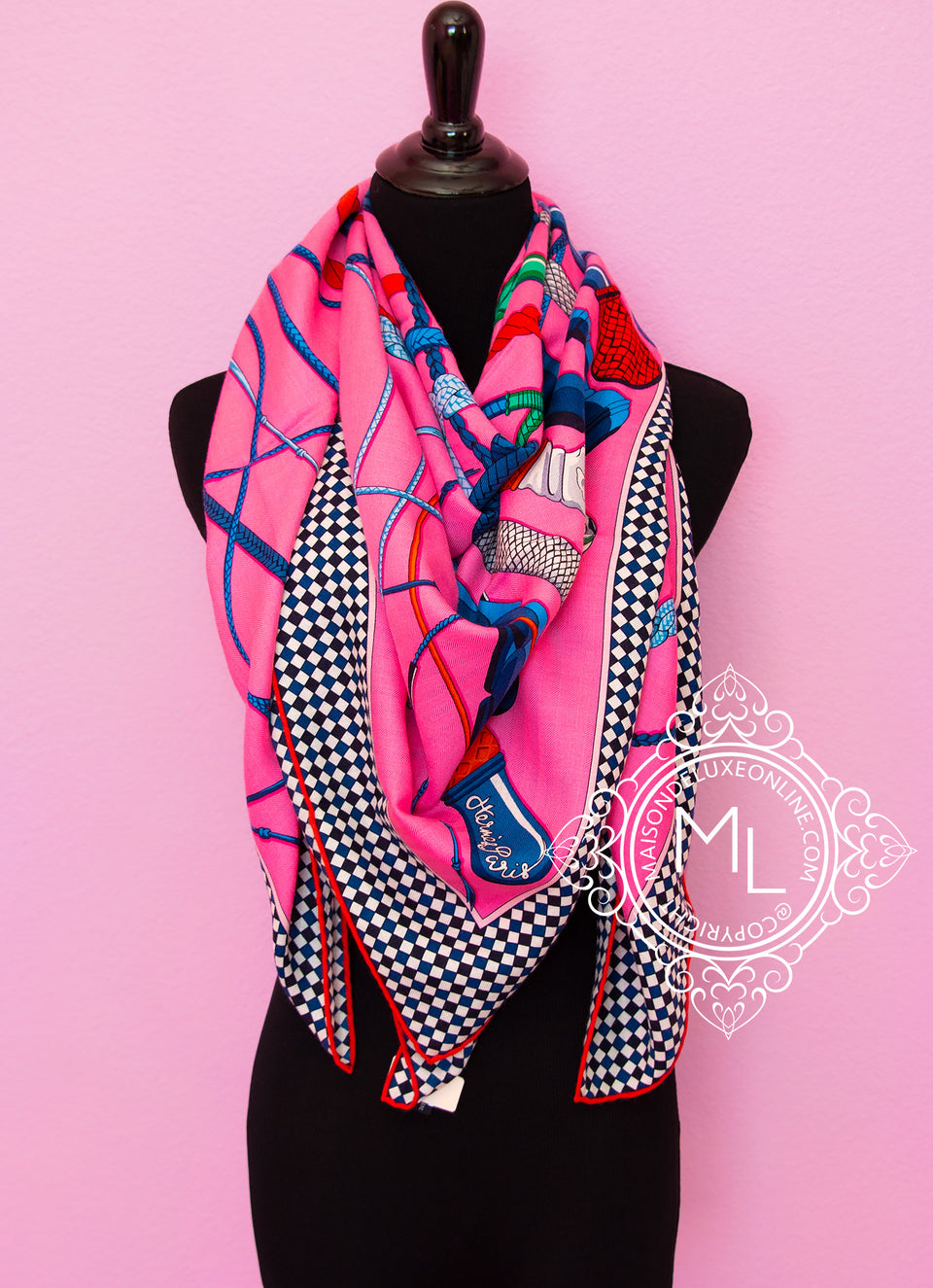 Hermes Cashmere 140 GM Pink Fouets et Badines Shawl Scarf