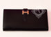 Hermes Noir Black Veau Box Bearn Long Wallet Clutch