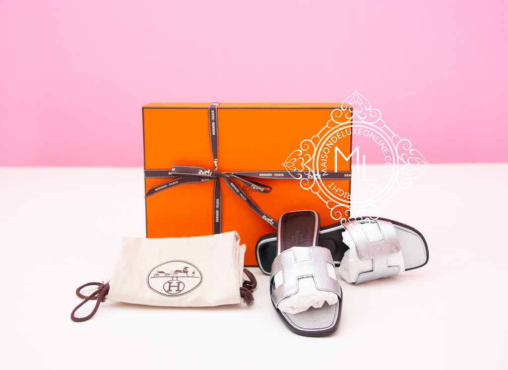 Hermes Womens Silver Oran Sandal Slipper 36 Shoes