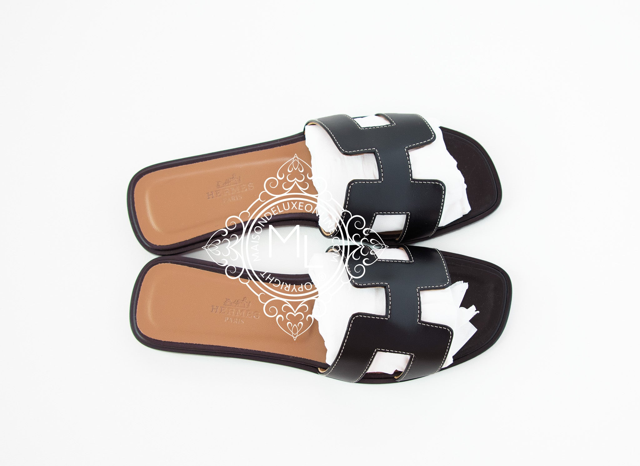 30be326eaf88 Hermes Womens Black Oran Sandals Slippers 36 Shoes Boots Loafers ...
