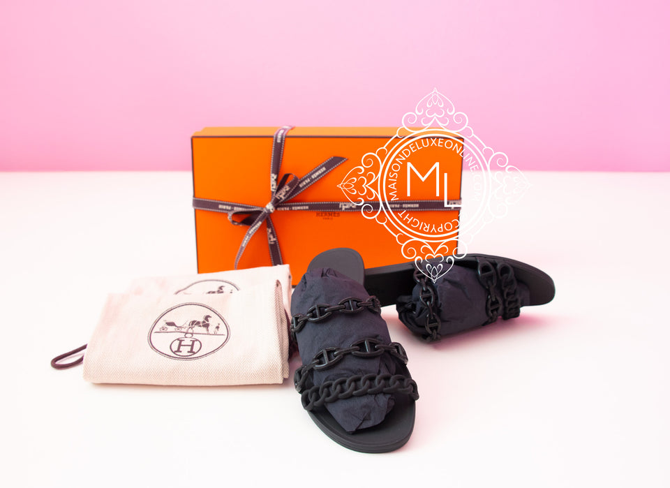 Hermes Womens Rivage Jelly Black Sandal Slipper 37 Shoes