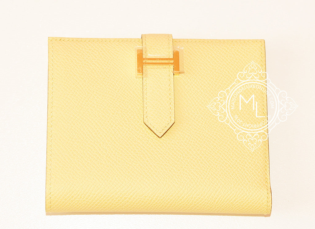 e2f2b4120886 Hermes Jaune Poussin Yellow Gold GHW Epsom Compact Bearn Wallet ...