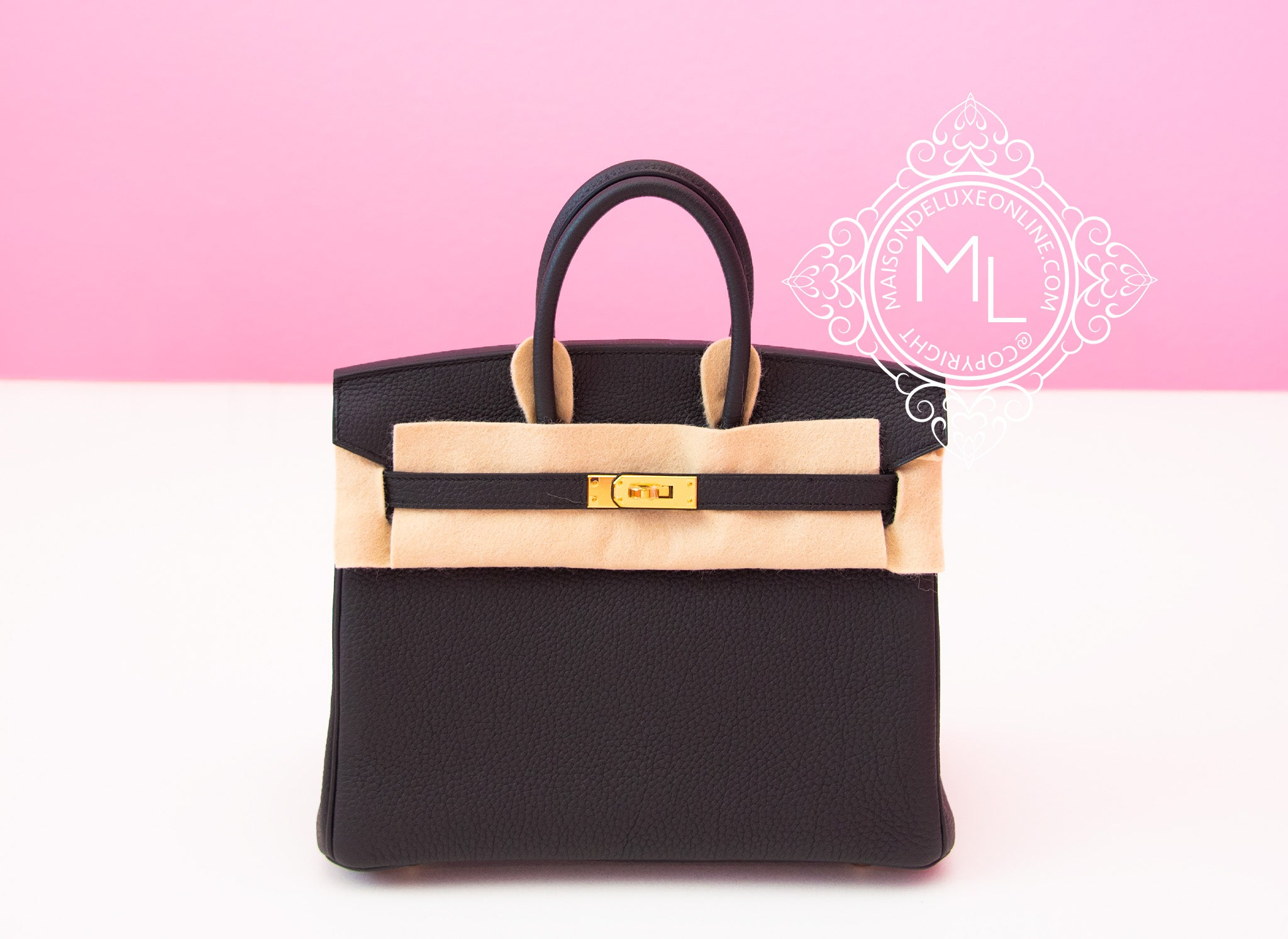 Hermes Noir Black Togo Birkin 25 Handbag Bag Kelly Tote Gold ... 772630298