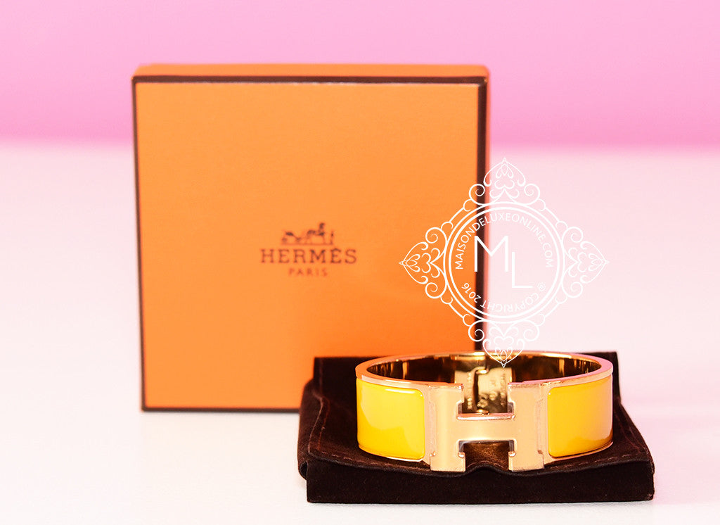 Hermes Yellow Clic Clac Gold Hardware Bracelet PM