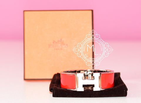 Hermes Red White H Clic Clac Palladium Hardware Bracelet PM - New