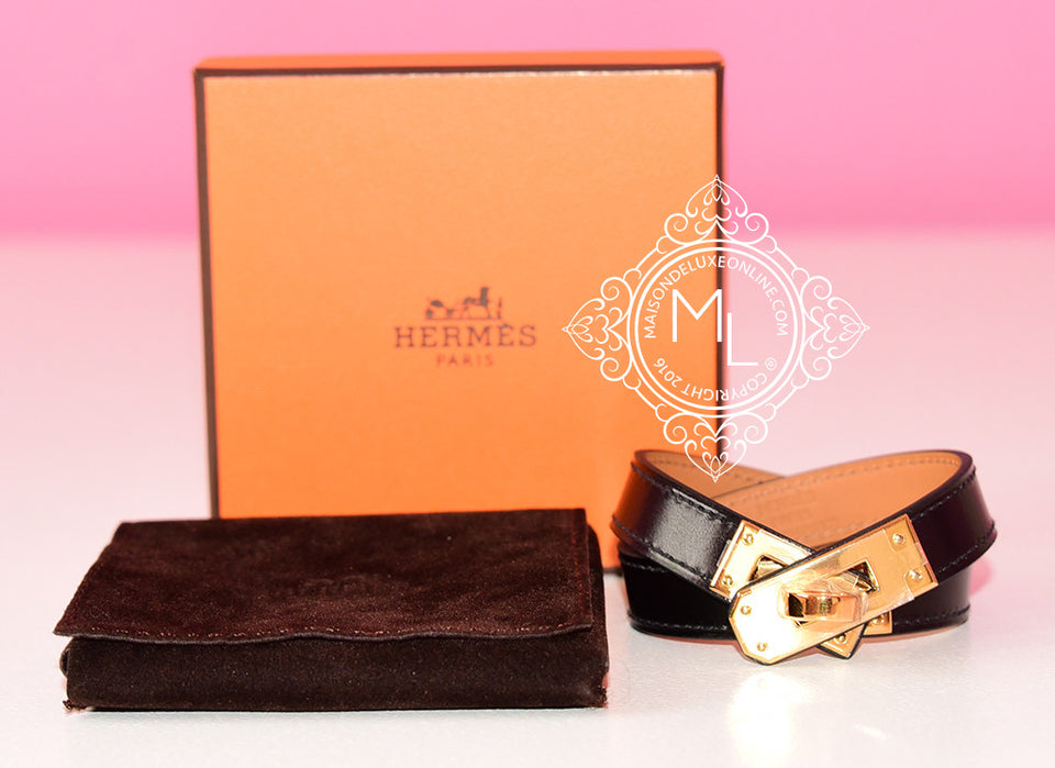 Hermes Noir Black GHW Kelly Double Tour Bracelet Cuff M