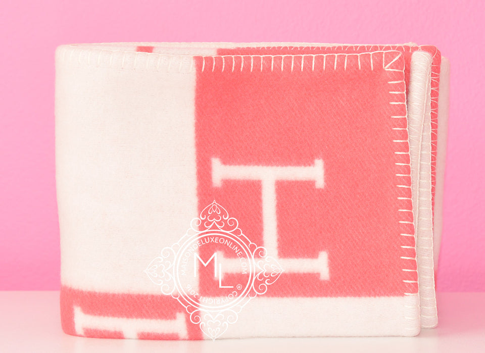 Hermes Baby Pink Wool Cashmere H Avalon Blanket