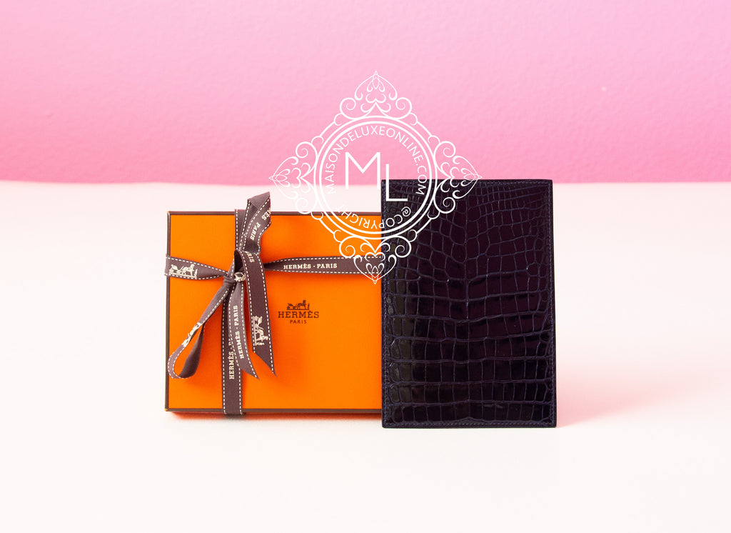 Hermes Blue Crocodile MC² MC2 Euclide Card Case Holder