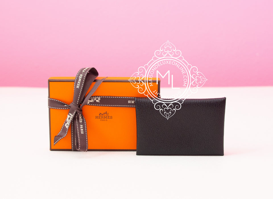 Hermes Black Chevre Mysore Calvi Card Case Holder