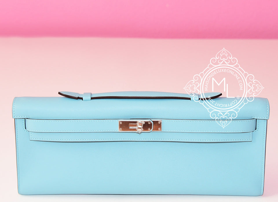 Hermes Blue Atoll Kelly Cut Pochette Mini Clutch