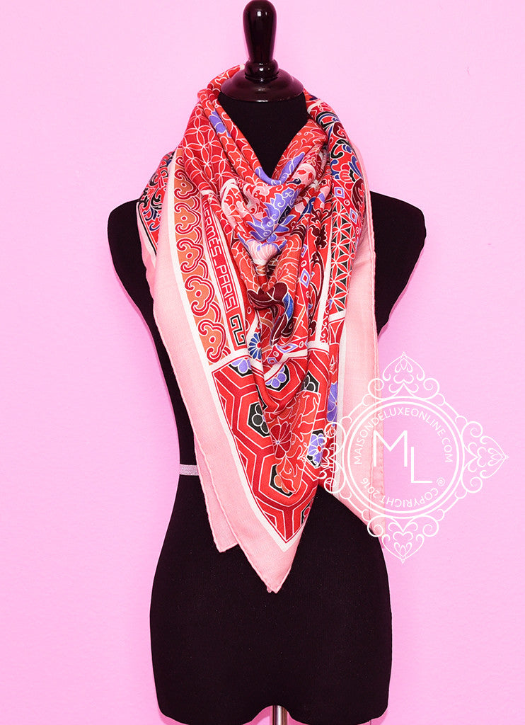 Hermes Cashmere 140 GM Collections Imperiales Corail Rose Pink Shawl Scarf