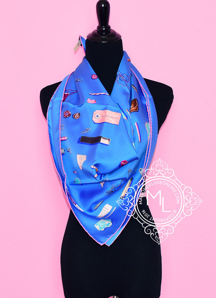 Hermes Blue Twill Silk 90 cm In The Pocket Scarf