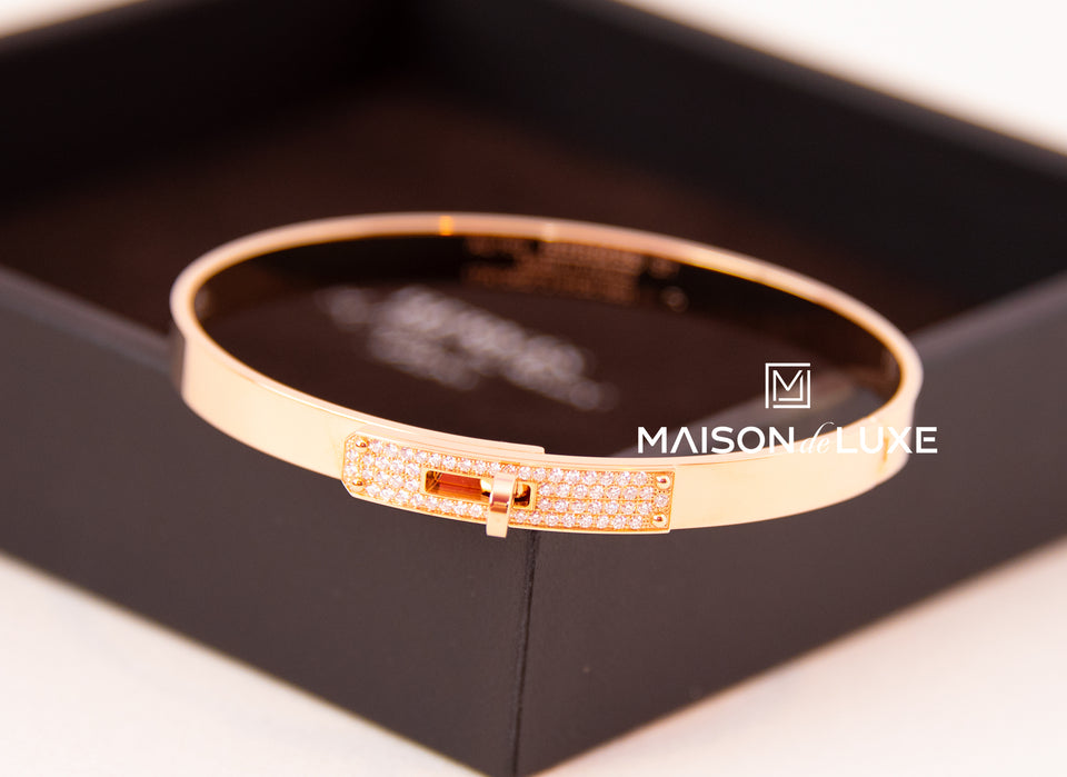 Hermes Rose Gold Pave Diamond Kelly Bracelet Bangle ST