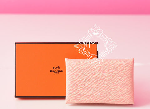 Hermes Rose Eelantine Pink Epsom Calvi Card Case Holder - New