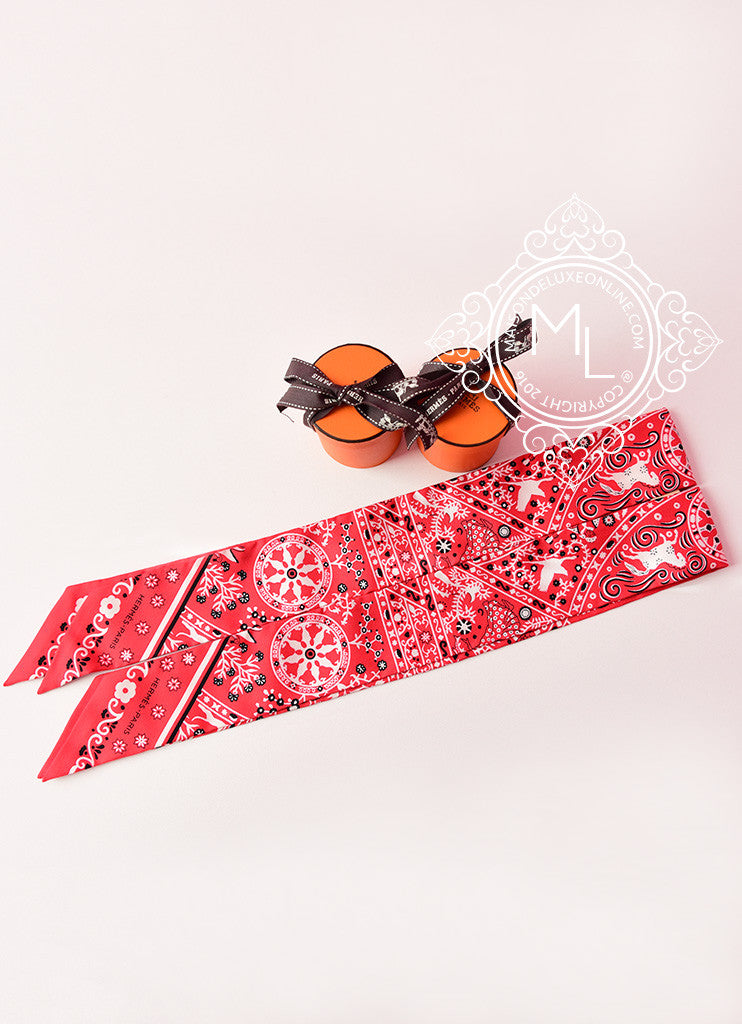 Hermes Peuple du Vent Bandana Red Black White Twilly