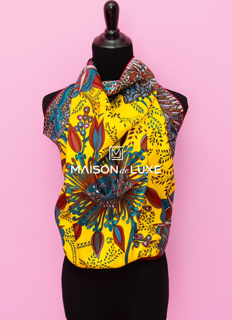 "Hermes ""Flowers of South Africa"" Yellow Twill Silk 90 cm Scarf"