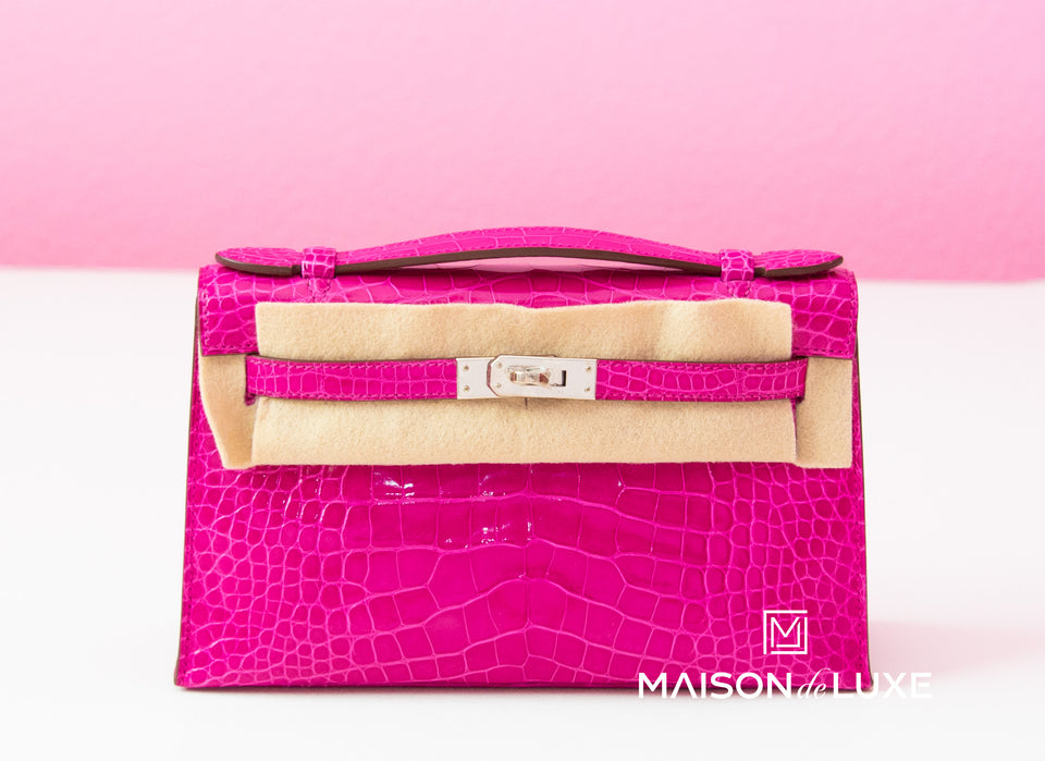 Hermes Pink Rose Sheherazade Crocodile Mini Kelly Pochette Clutch