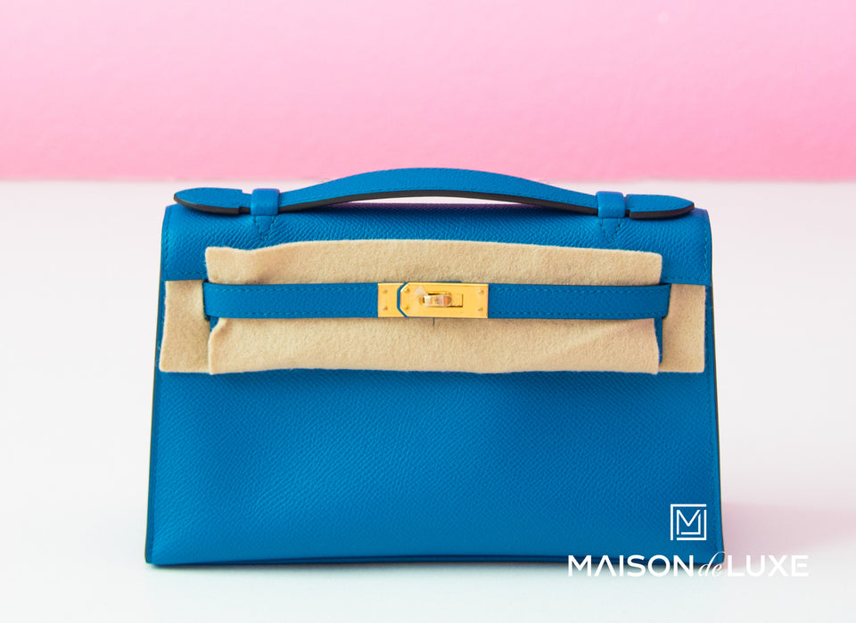 Hermes Blue Izmir GHW Epsom Mini Kelly Pochette Clutch