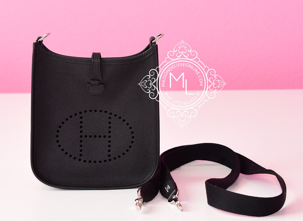 Hermes Black Noir Epsom Mini TPM Evelyne Messenger Cross Body Bag ... e8887eee2