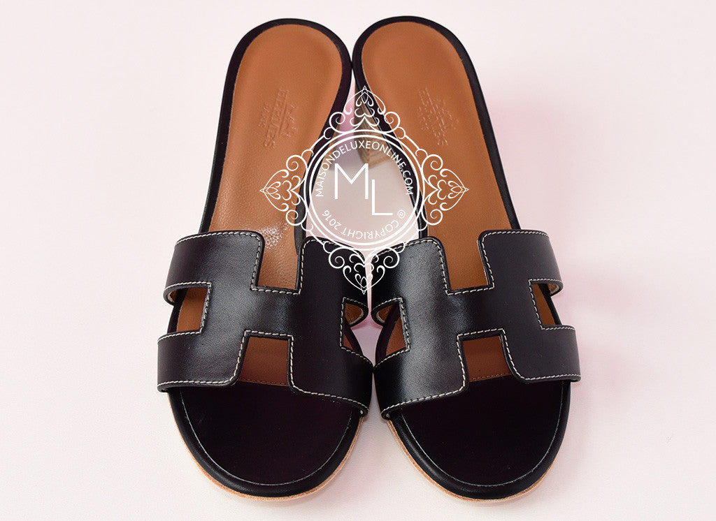 070e3110b8d0 Hermes Womens Noir Black Oasis Sandals Slippers 35.5 Shoes Loafer ...