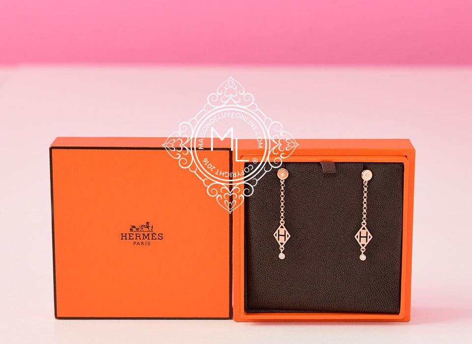 Hermes Rose Gold Diamond Gambade Earrings