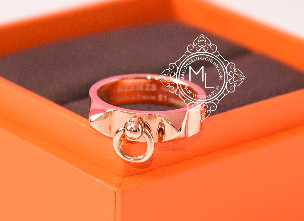 Hermes Rose Gold Collier de Chien CDC Ring 51