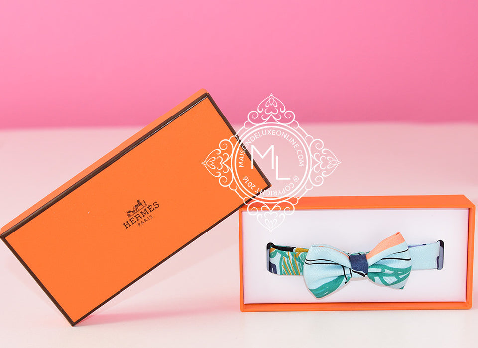 Hermes Light Blue Green Bow Tie Twilly