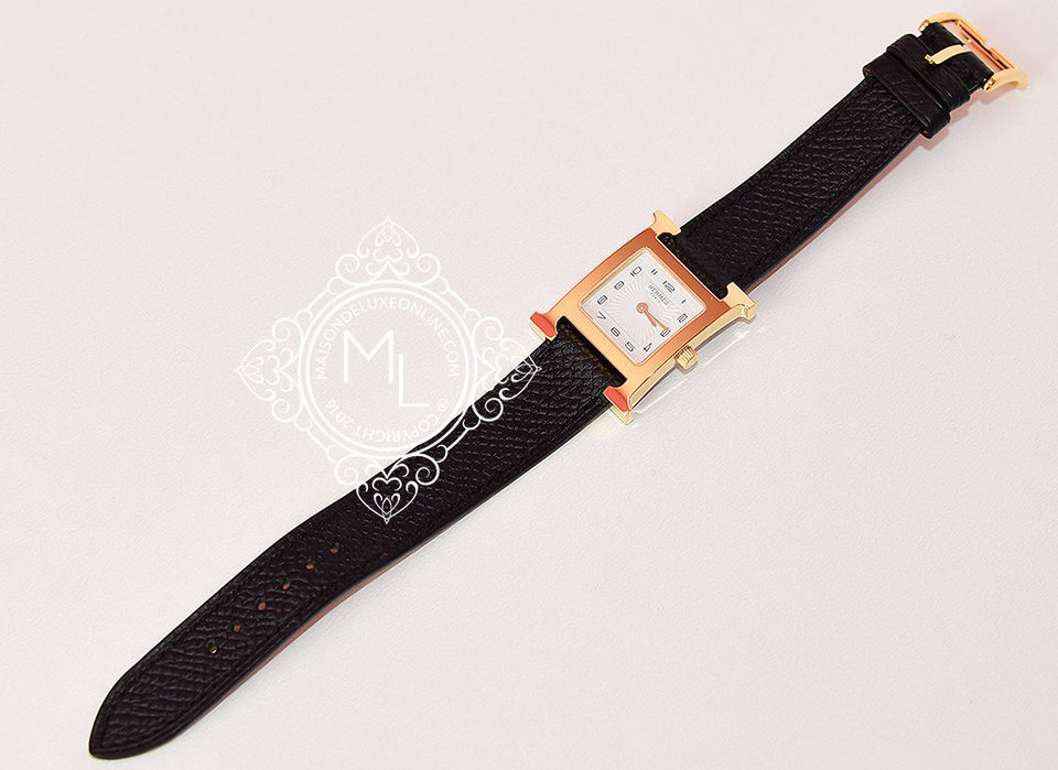 Hermes Gold H Hour Watch PM Black Strap Bracelet