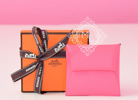 Hermes Rose Azalee Epsom Bastia Change Purse - New