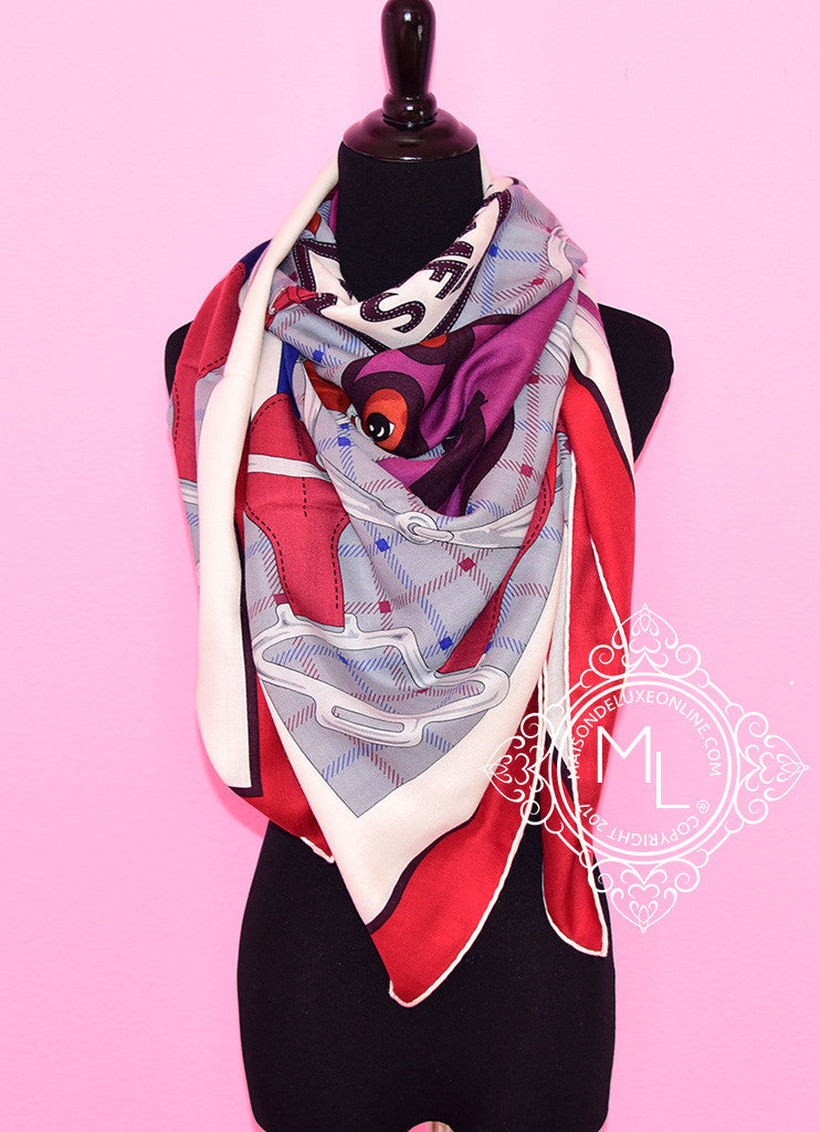 "Hermes ""Tatersale"" Rouge H Cashmere 140 GM Shawl Scarf"