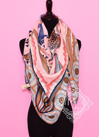 Hermes Cashmere 140 GM The Savana Dance Pink Shawl Scarf - New