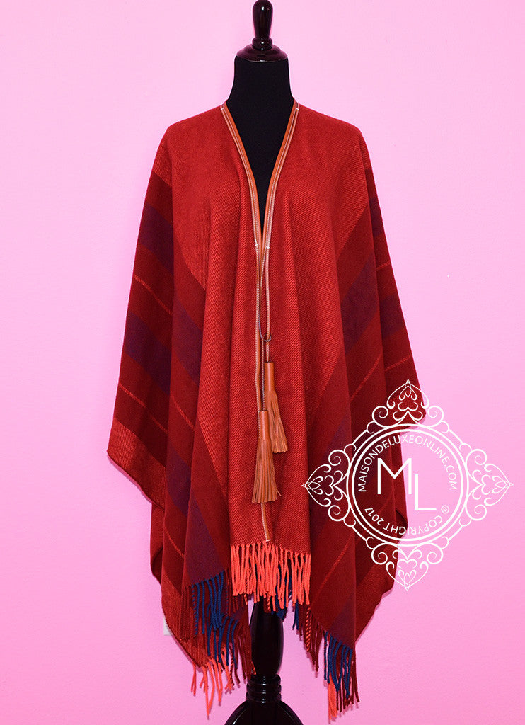Cashmere Wool Red Rocabar Bivouac Poncho Cape