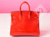 Hermes Geranium Red Crocodile Gold Birkin 25 Handbag