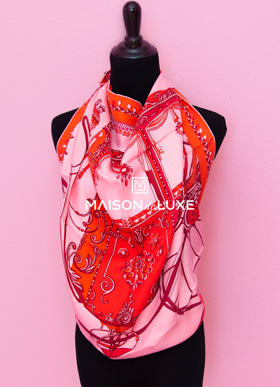 "Hermes ""Coupe de Gala"" Red Pink Wash Twill Silk 90 cm Scarf"