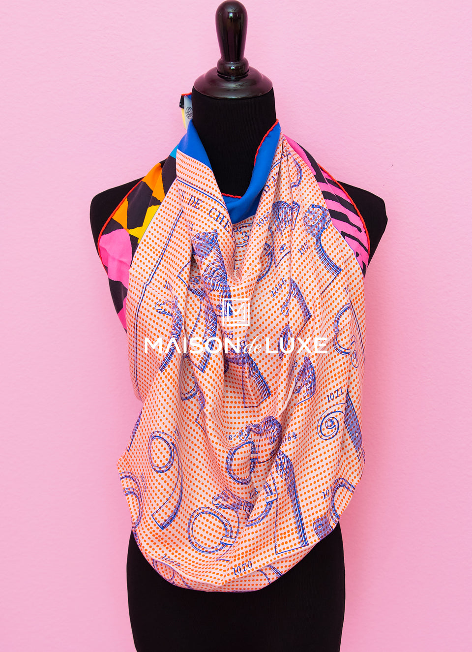"Hermes ""Manufacture de Boucleries Detail"" Pink Wash Twill Silk 90 cm Scarf"