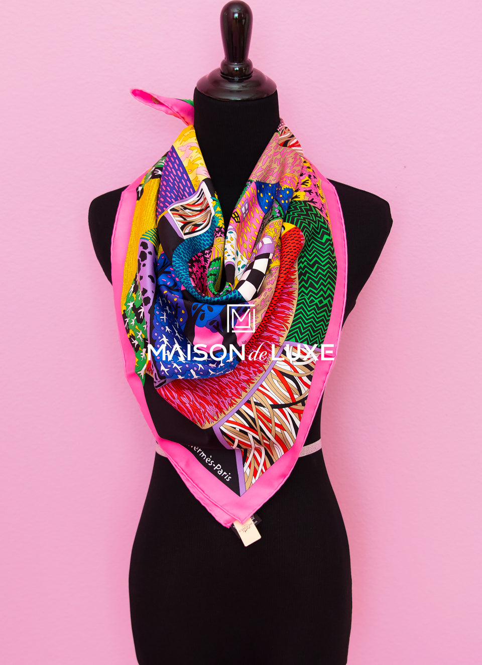 "Hermes ""A Travers Champs"" Pink Twill Silk 90 cm Scarf"