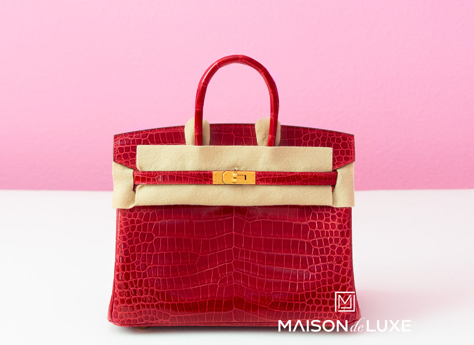Hermes Braise Red POROSUS Crocodile Birkin 25 Handbag