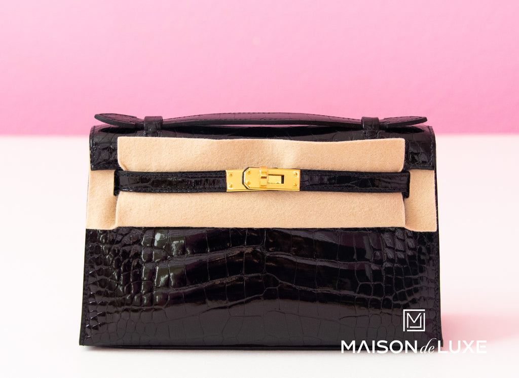 Hermes Noir Black Crocodile Mini Kelly Pochette Clutch