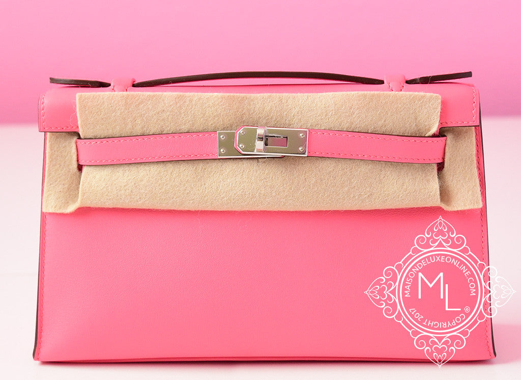 Hermes Pink Rose Azalee Mini Kelly Pochette Clutch