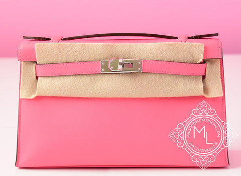 Hermes Pink Rose Azalee Mini Kelly Pochette Clutch - New