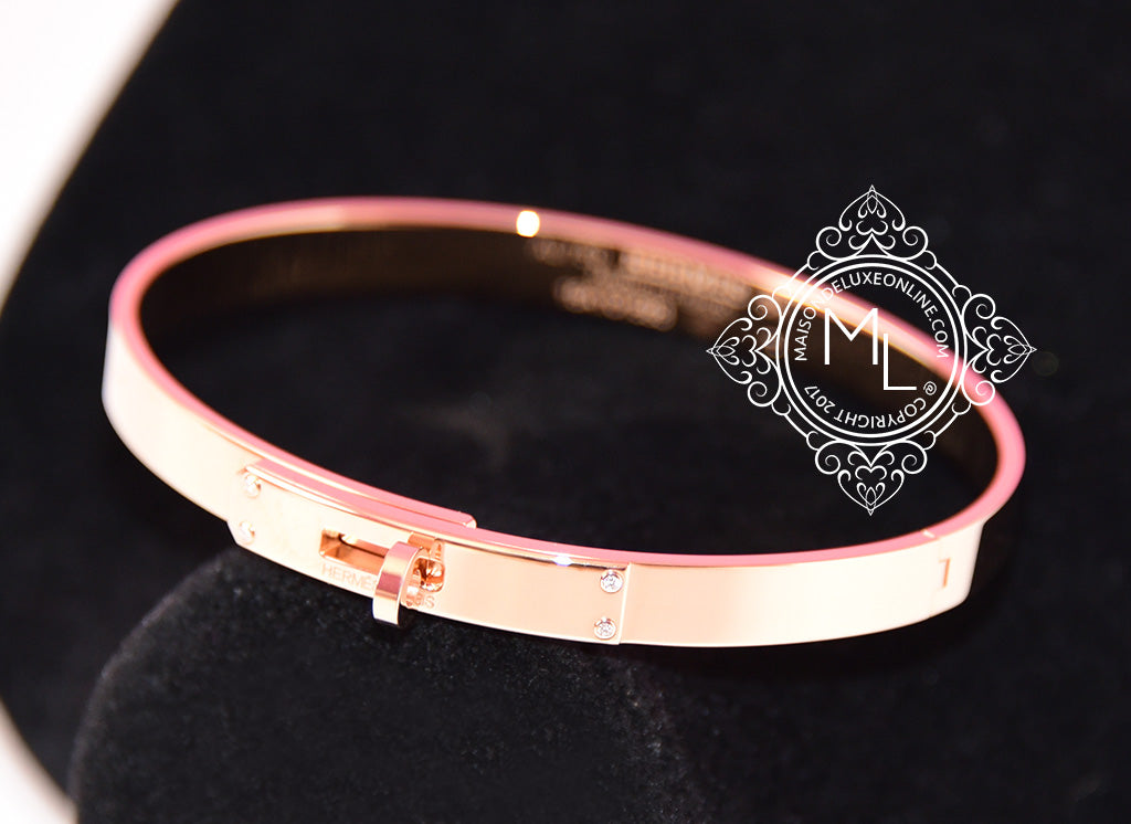 Hermes Rose Gold 4 Diamond Kelly Bracelet Bangle Cuff SH