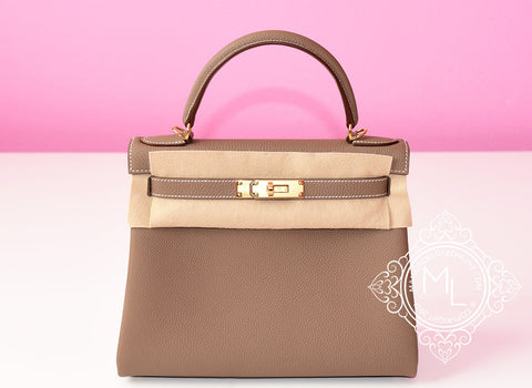 Hermes Etoupe GHW Togo Kelly 28 Handbag - New