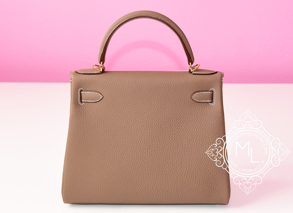 f6dd5de4f31c Hermes Etoupe GHW Gold Hardware Togo Kelly 28 Leather Handbag Etain ...