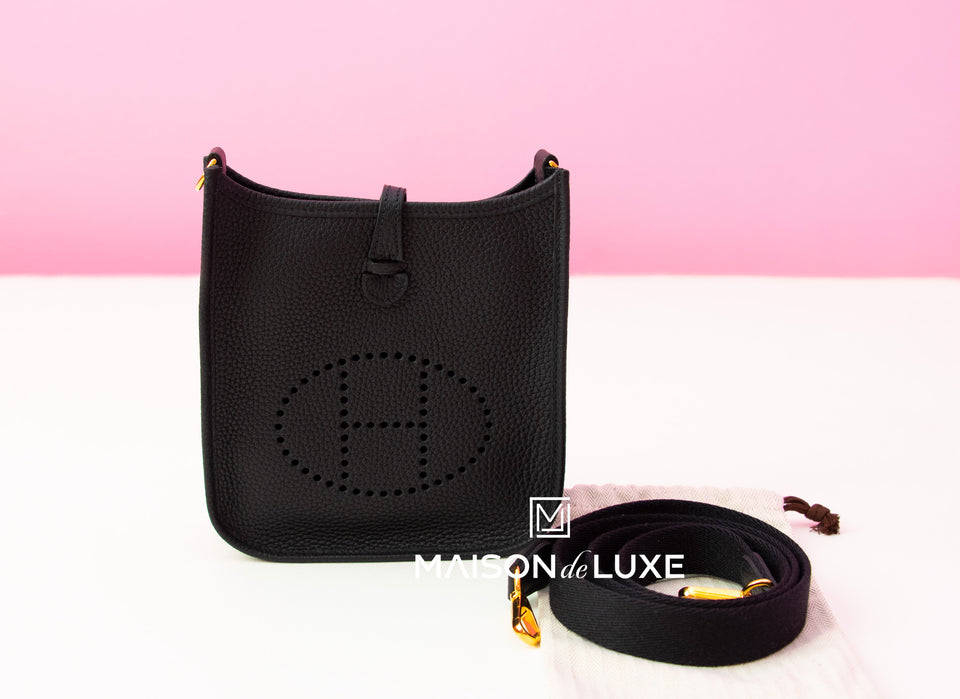 Hermes Noir Black Mini TPM Evelyne Messenger Bag