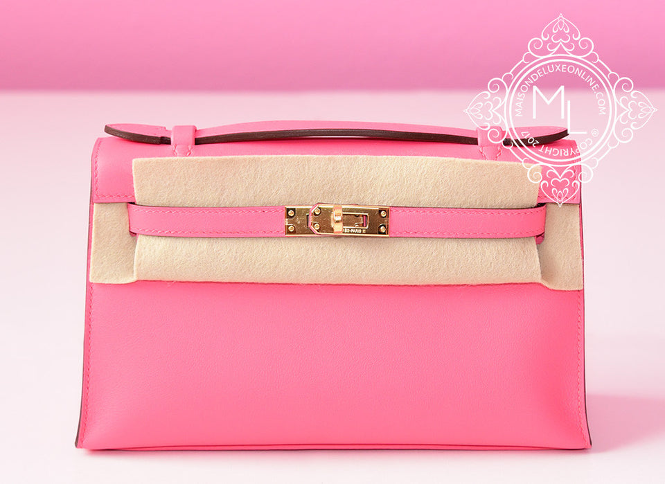 Hermes Pink Rose Azalee Mini Kelly Pochette Clutch GHW