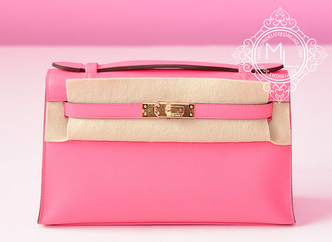 Hermes Pink Rose Azalee Mini Kelly Pochette Clutch GHW - New