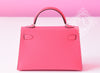 Hermes Rose Lipstick Mini Kelly II 20cm Pochette Clutch - New
